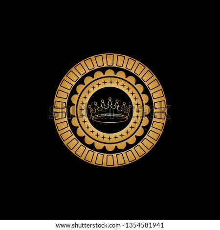 Circular ornament with a flower pattern, small four-pointed asterisks and a gold crown in the center. Vector illustration.