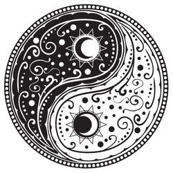 Circular ornament yin yang sign paisley design.