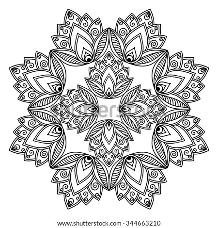 Circular pattern in form of mandala for Henna, Mehndi, tattoo, decoration. Decorative ornament in ethnic oriental style. Coloring book page.