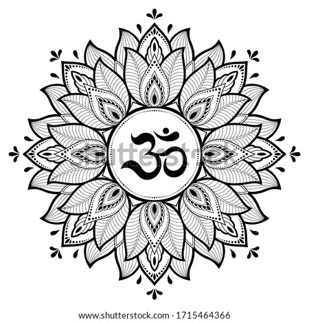 Circular pattern in form of mandala for with flower Henna, Mehndi, tattoo, decoration. Decorative ornament in oriental style with ancient Hindu mantra OM. Outline doodle vector illustration. Stockfoto ©