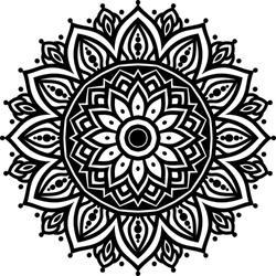 Circular pattern mandala art decoration elements for meditation poster, adult coloring book page, tattoo, henna, mehndi