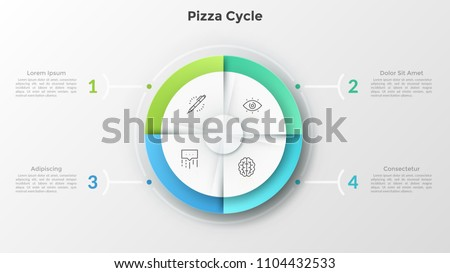 Circular pie chart divided into 4 equal pieces with thin line icons inside connected to numbered text boxes. Concept of pizza cycle diagram. Modern infographic design template. Vector illustration.