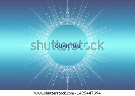 Circular quantum computer technology concept. Sphere explosion background. Deep learning artificial intelligence. Big data algorithms visualization. Waves flow. Quantum explosion, vector illustration.