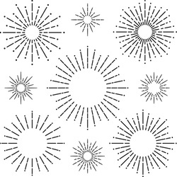 Circular radial line of light frame design set