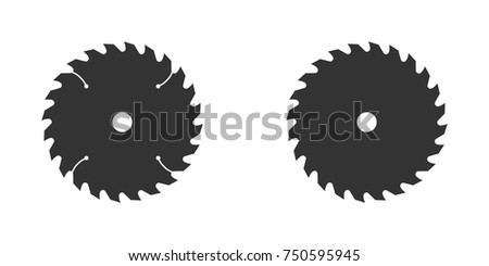 circular saw blade vector flat illustration on white background