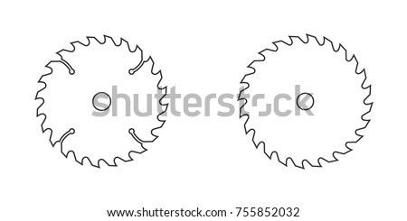circular saw blade vector line illustration on white background