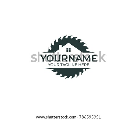 Circular Saw Disc for Cutting Wood and Home Logo Template. Joinery Vector Design. Construction Illustration