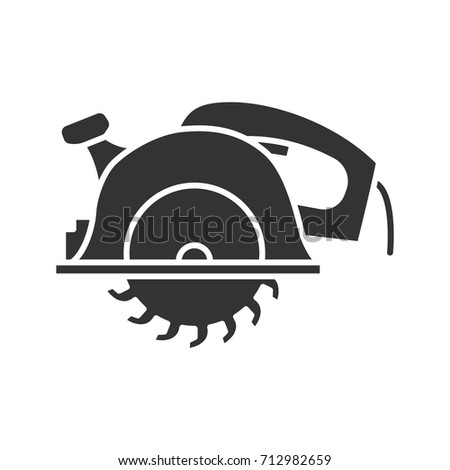 Circular saw glyph icon. Silhouette symbol. Disc saw. Negative space. Vector isolated illustration