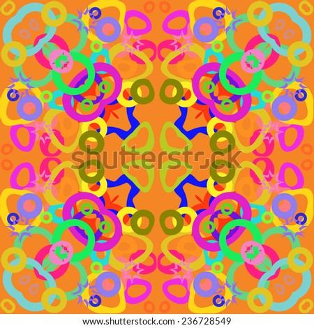 Circular seamless pattern of colored bagels, stars on a light orange background.