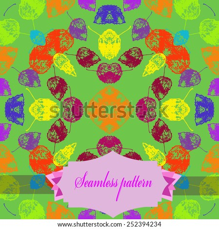 Circular seamless pattern of colored floral motif, autumn leaves, label on a  green background. Hand drawn.