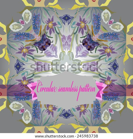 Circular seamless  pattern of colored floral motif,flowers,tulips, crocuses, label on a  gradient gray background. Hand drawn.