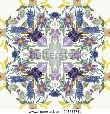 Circular seamless  pattern of colored floral motif,flowers,tulips, crocuses  on a white   background. Hand drawn.