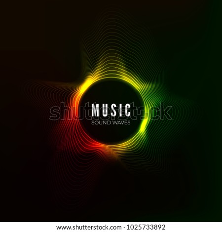 Circular sound wave visualization. abstract music background. Color structure audio flow. Vector illustration