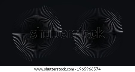 Circular spiral sound wave rhythm from lines white color on dark background. Foto stock ©