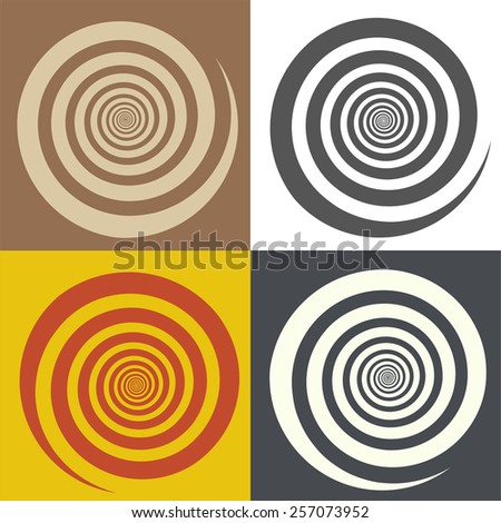 Circular spiral. Symbol of the cycle of life and cycling. Vector background for dynamic objects. When rotating around the center there is a hypnotic effect.