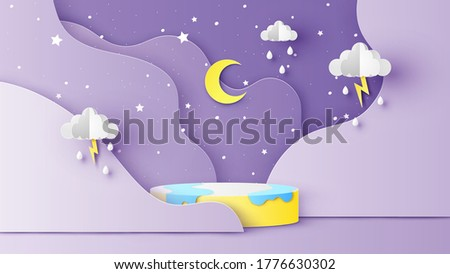 Circular stage podium with backdrop of the rainy season in night sky view. Rainy season at night scenery. paper cut and craft style. vector, illustration.