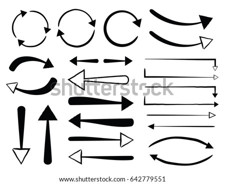 Circular Straight and Curved Hand Drawn Arrows Simple Silhouettes Set #642779551