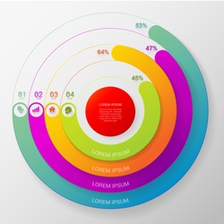 Circular stylish multicolor round percent line 4 step indicators infographics mockup template. Target red center thick lines intertwine interlace. Infographic elements background concepts collection.