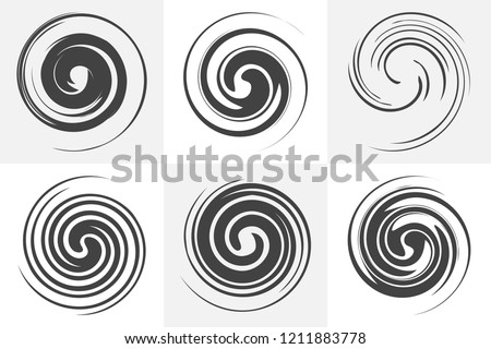 Circular twisted swirl elements of abstract liquid design. Black and white vector illustrations set. Smooth spiral forms. Rotation and mixing liquid in the cup. Collection of circular motion elements. Foto stock ©