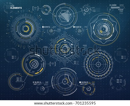 Circular Vector Elements Set for Infographics HUD Sci Fi Interfaces