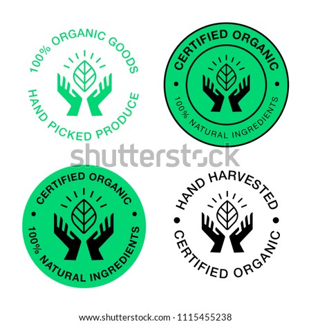 Circular vector logo. Hands holding a leaf symbol. Natural, organic, eco, farm, fresh, icon.