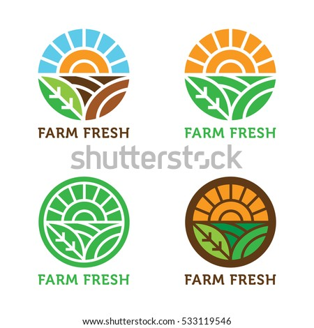 Circular vector logo. Sun rays over field and crops. Natural, organic, eco, farm, fresh, icon.