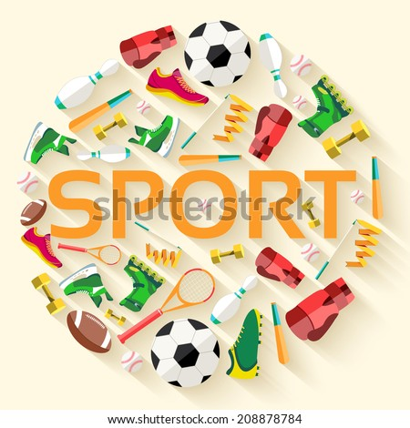 Circular with text in center concept of sports equipment background. vector illustration design