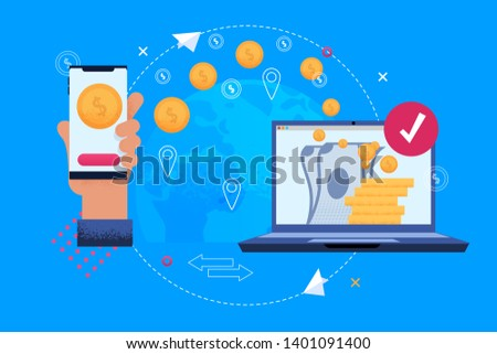 Circulation Money among Electronic Devices App. Hand Holding Mobile Phone. Circulation Money among Electronic Devices App. Coins Phone and Notebook. Technology that allows People to Receive.