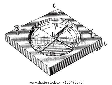 Circumferentor or Surveyor's Compass, vintage engraved illustration. Dictionary of Words and Things - Larive and Fleury - 1895