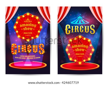 Circus amazing show poster template with light frame. Circus arena. Vector illustration