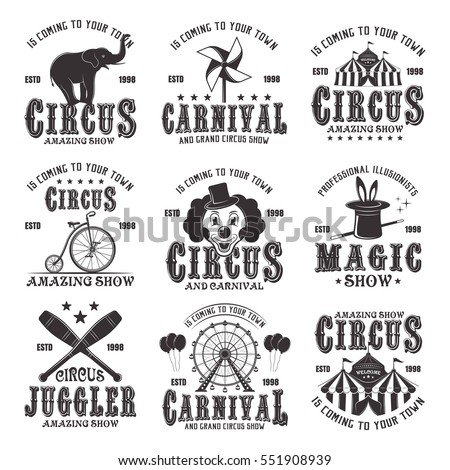 Circus amazing show set of vector black emblems, labels, logos and typographic stamps in vintage style isolated on white background