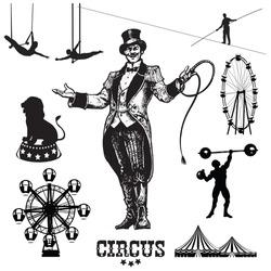 Circus and amusement park vector illustrations. Showman