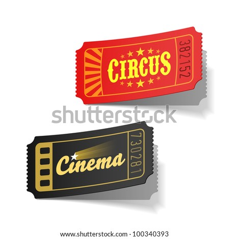 Circus and cinema tickets. Vector.