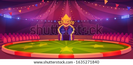 Circus arena, round stage for performance, carnival show. Vector cartoon empty interior inside of cirque tent with scene, seats, flags and searchlights