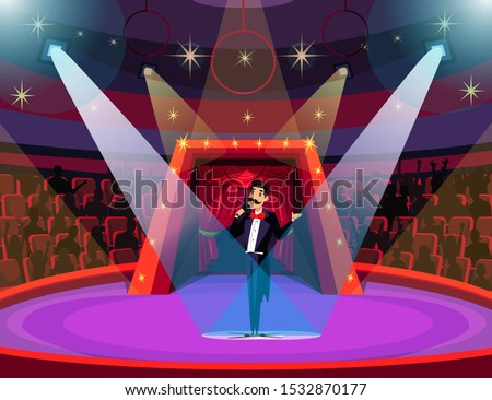 Circus arena, show flat vector illustration. Happy showman in tailcoat, announcer on stage cartoon character. Cheerful man with microphone announcing performance. Family entertainment, amusement