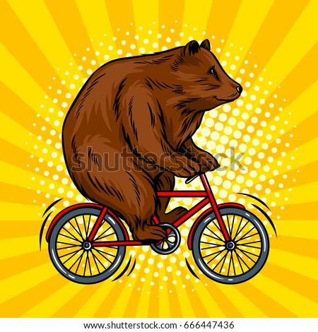 circus bear on bicycle pop art