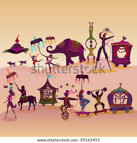 Circus caravan with magician, elephant, dancers and various characters