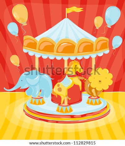 circus carousel with animals horse with an elephant and a lion with balls.?hildren\'s positive joyful