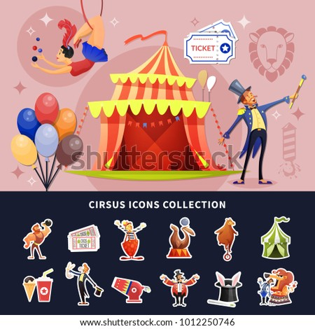 Circus cartoon colored composition with isolated show icon set combined in composition vector illustration