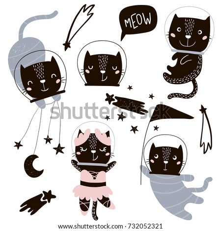 Circus cats astronauts vector clipart. Cute cartoon characters