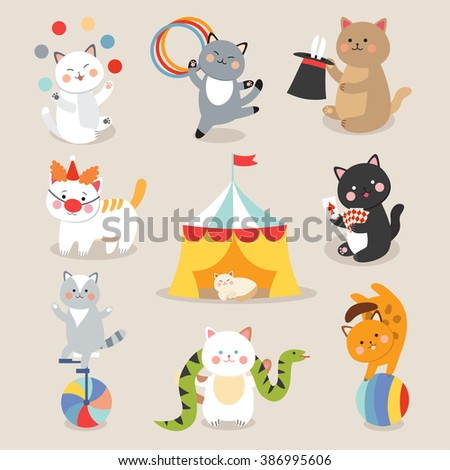 circus cats vector set of