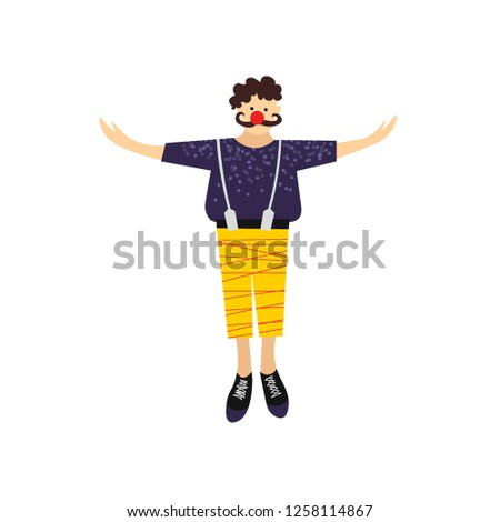 Circus character. Clown with red nose and mustache. Vector illustration. Good for cads, banner, poster, invitation template. #1258114867
