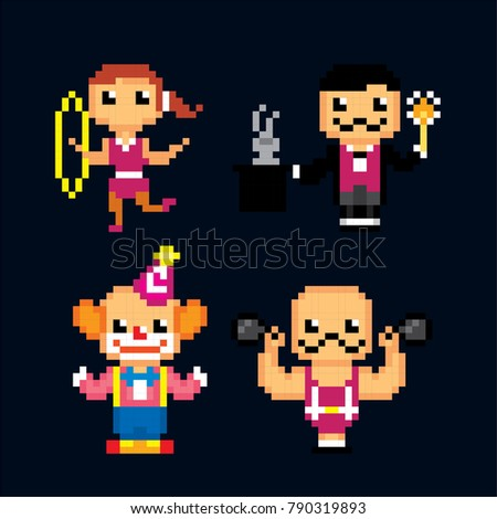 Circus Characters icon set. Pixel art. Old school computer graphic style. 8 bit video game. game element.