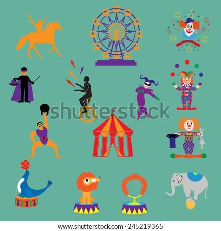 circus.3 Circus, vector. Amusement Park icons.vector colorful carnival icons set.
