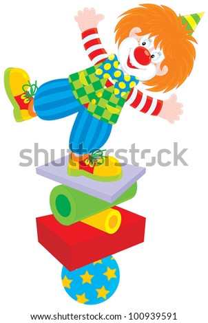 circus clown equilibrist balancing on a few objects