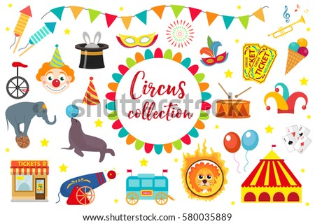 Circus Collection, flat, cartoon style. Set isolated on a white background. Kit with elephant, tent, lion, Sealion, gun, clown, tickets. Design elements. Vector illustration, clip art
