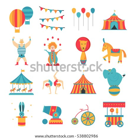 Circus collection with carnival, fun fair, vector icons and background and illustration Colored icons collection.