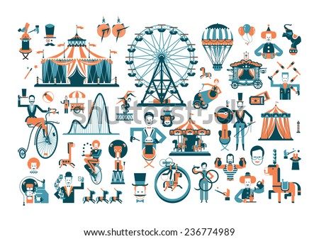 Circus. Colored icons on white background