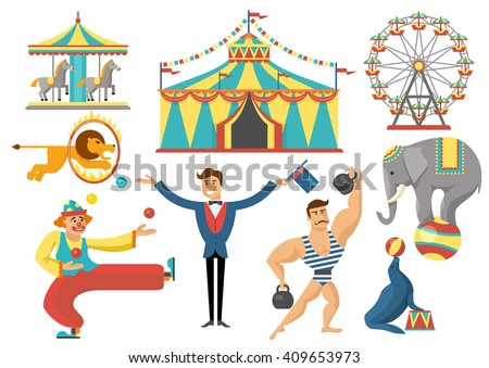 circus decorative flat icons