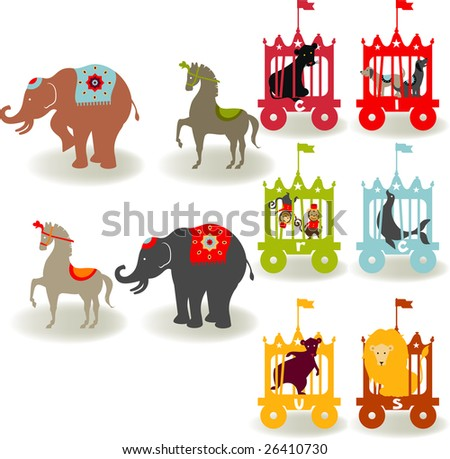 Circus elements like elephants, horse, lion, seal, dog, bear, monkey and boys and girls